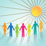 Vector multi-color community pictograms with sun Royalty Free Stock Images