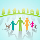 Vector multi-color community pictograms  in village Stock Photos
