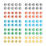 Vector of multi colored buttons with and without numbers Royalty Free Stock Images