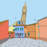 Vector. Multi-colored houses and a bell tower royalty free stock images