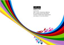 Vector multi-colour line wave on white background.  Royalty Free Stock Photos