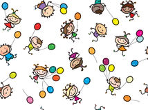 Vector  multi-ethnic kids with balloons. Royalty Free Stock Photo