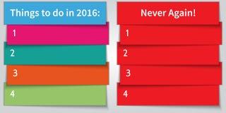 Vector multi Liste Doppeltes der neues Jahr-Entschließung Farb Lizenzfreies Stockfoto