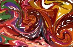 Vector Multi rood Hand getrokken kunstwerk op water marmeren textuur Vloeibaar verfpatroon Abstracte kleurrijke achtergrond in eb stock illustratie