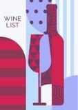 Vector творческий шаблон с бутылкой вина, стеклянный и multicolor Стоковые Изображения RF