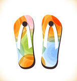 Vector multicolor  beach shoes, slippers Royalty Free Stock Images