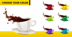 Vector multicolor coffee cups. With liquid splashes and drops Royalty Free Stock Images