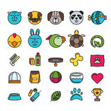 Vector multicolor contour pet shop, zoo or veterinary icons set. Stock Image