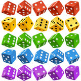 Vector multicolor dice set. Vector Casino Dice Set of Authentic Icons. Red, Yellow, Green, Blue and Purple Poker Cubes Isolated on White Background. 3d Board stock illustration