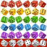 Vector multicolor dice set Stock Photography