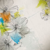 Vector multicolor grunge vintage drawing flower concept background Royalty Free Stock Photos