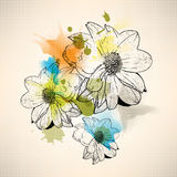 Vector multicolor grunge vintage drawing flower concept background Stock Image
