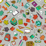 Vector multicolor seamless pattern with doodle school tools. Royalty Free Stock Photo