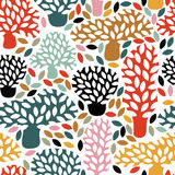 Vector multicolor seamless pattern with hand drawn doodle trees. Abstract autumn nature background. Design for fabric, textile fall prints, wrapping paper Royalty Free Stock Images