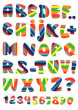 Vector multicolor stripped font set Royalty Free Stock Image