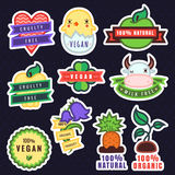Vector multicolor vegan, cruelty free, natural and organic products stickers. (with apples, plants, baby chicken and other things stock illustration