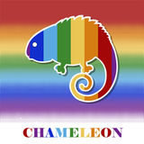 Vector multicolored chameleon. On rainbow background with inscription Stock Photography
