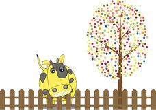 Vector of multicolored circles tree and cow Royalty Free Stock Images
