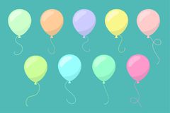 Vector Multicolored Colorful Balloons Set. Vector Multicolored Colorful Flat Balloons Set on Blue Background Royalty Free Stock Image