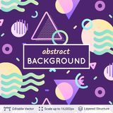 Abstract avangarde retro background. Vector multicolored geometric shapes. Simple dark backdrop Royalty Free Stock Image