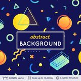 Abstract avangarde retro background. Vector multicolored geometric shapes. Simple dark backdrop Royalty Free Stock Photography