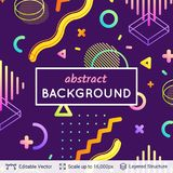 Abstract avangarde retro background. Vector multicolored geometric shapes. Simple dark backdrop Stock Photography