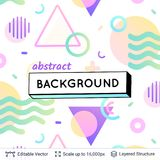 Abstract avangarde retro background. Vector multicolored geometric shapes. Simple light backdrop Stock Image
