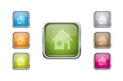 Vector multicolored glossy rounded square buttons Royalty Free Stock Image