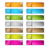 Vector multicolored glossy rounded square buttons Stock Photos