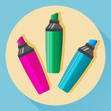 Vector multicolored highlighters Royalty Free Stock Photos