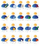 Vector multicolored icons with Royalty Free Stock Photos