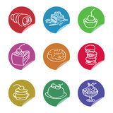 Vector multicolored icons with sweets Stock Images