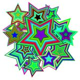 Vector multicolored stars. On white background. Abstract Pop Art Background Stock Photos
