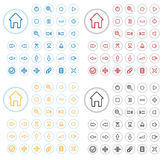 Vector multimedia buttons. Collection of vector audio buttons. Easy to edit, any size, different colors Stock Photo