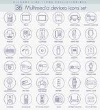 Vector multimedia devices outline icon set. Elegant thin line style design. Royalty Free Stock Image