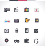 Vector multimedia icon set. Set of the electronics gadget related icons Royalty Free Stock Photo