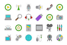 Vector multimedia icons set. Set of 24  multimedia icons Royalty Free Stock Photography