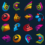 Vector multimedia signs collection isolated on black background. 3d colorful abstract design elements, can be used in web and graphic design and as marketing vector illustration