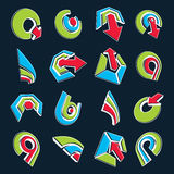 Vector multimedia signs collection isolated on black background. 3d colorful abstract design elements, can be used in web and graphic design and as marketing stock illustration