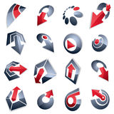Vector multimedia signs collection isolated on white background. 3d gray abstract design elements, can be used in web and graphic design and as marketing royalty free illustration