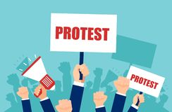 Vector of multiple hands holding protest signs and megaphone, crowd of people angry with politics vector illustration