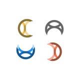 Vector multiusos de Logo Mark - C, A, N, U, gato, ratones, luna, etc Imagen de archivo libre de regalías