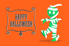 Vector : Mummy Monster walking and Happy Halloween banner on ora Royalty Free Stock Photography