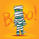Vector : Mummy walk on yellow background with boo word, Hallowee Stock Photos