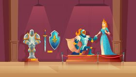 Vector museum concept, medieval exhibition, historical excursion. Vector museum concept, medieval exhibition. Armored knight with helmet, princess in blue silk Stock Photography