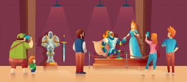 Vector historical museum with visitors, medieval exhibition. Vector museum with visitors, medieval exhibition. Armored knight with helmet, princess in blue silk stock illustration