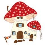 Vector Mushroom House. Vector cute mushroom house. Vector amanita house. Amanita house vector illustration Stock Image