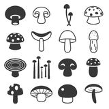 Vector mushroom icons set Stock Photos