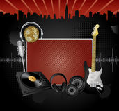 Vector music background. Vector background with the several music objects and banner for your text Stock Image