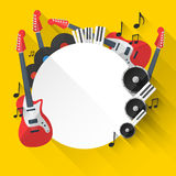 Vector Music Background in Flat style design Royalty Free Stock Photography
